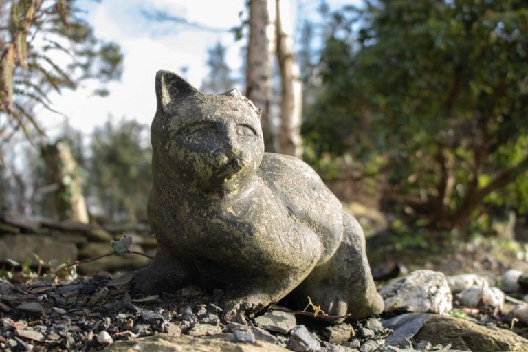 Cat with broken ear garden statue