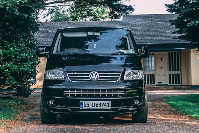 Black VW van front view