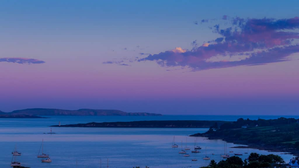 Purple sky. Schull West Cork sunset sea and boats 3