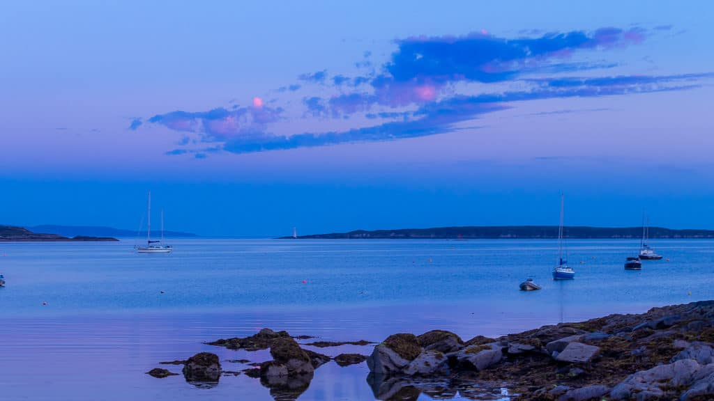Purple sky. Schull West Cork sunset sea and boats 2