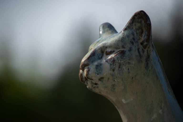 Ceramic cat statue